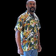 Vintage Green Hawaiian Silk Men's Shirt M