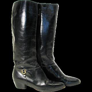 Tall Black Leather Ferragamo Riding Boots size 7