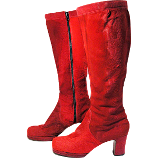 1960s Mod Red Fur Go Go Boots size 9