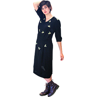 1940s Black Rayon Embroidered Strawberry Dress, XL Tall