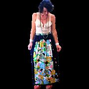 1970s Cassandra Mod Signature Print Floral Maxi Skirt M