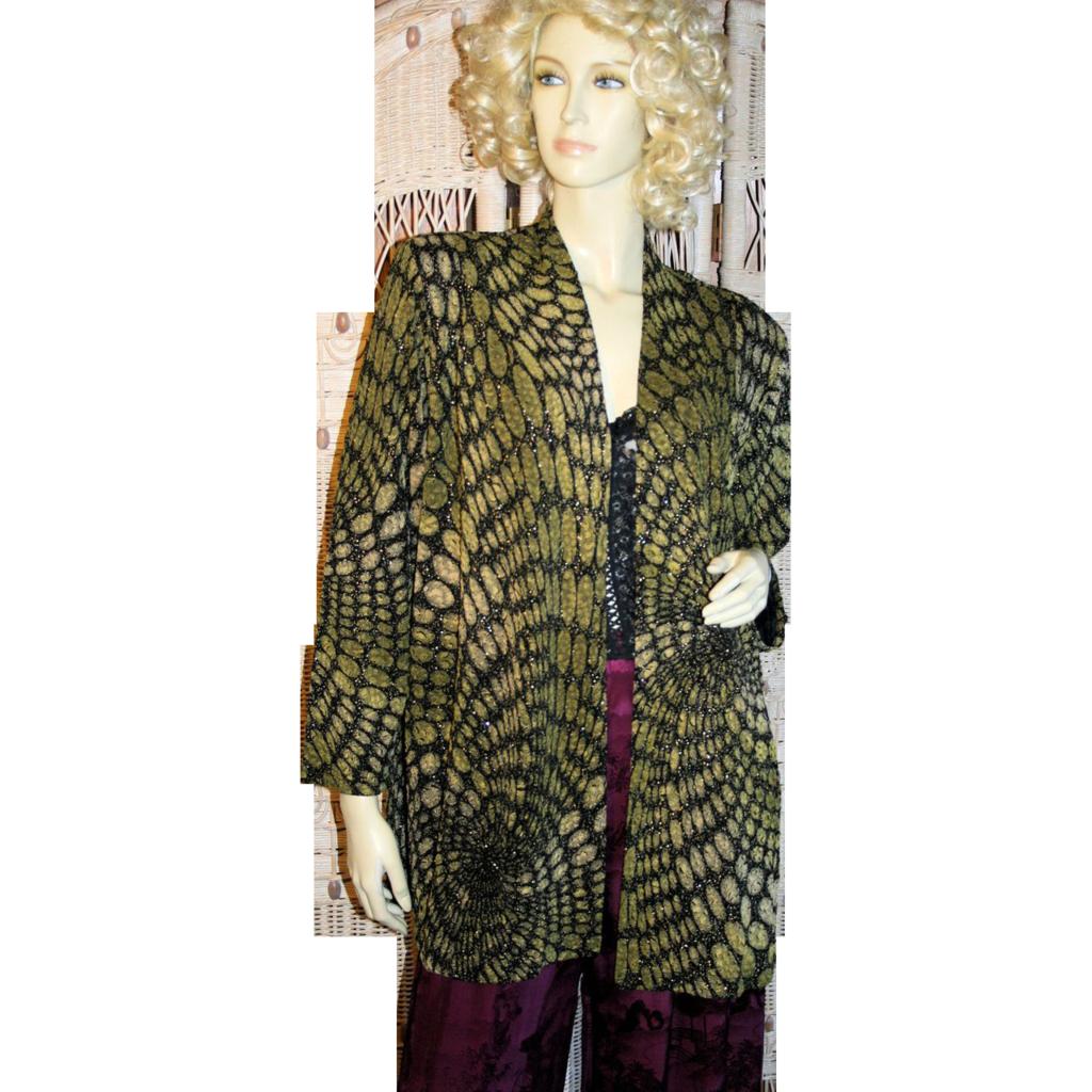 Sultry Black Gold Python Print Jacket Slinky Metallic Knit Jersey S/M