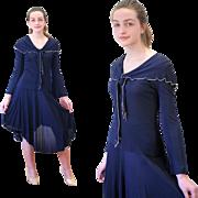 1970s Designer Vicky Tiel Navy Silk Sailor Dress XS