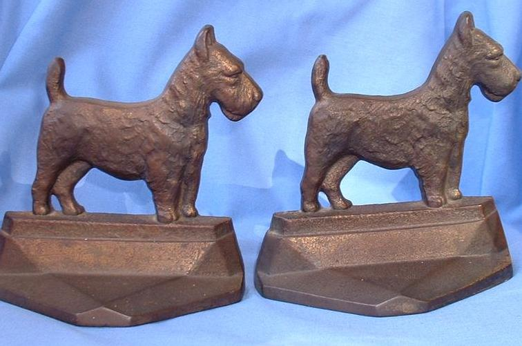 1929 art deco bronze cast iron Scotty bookends