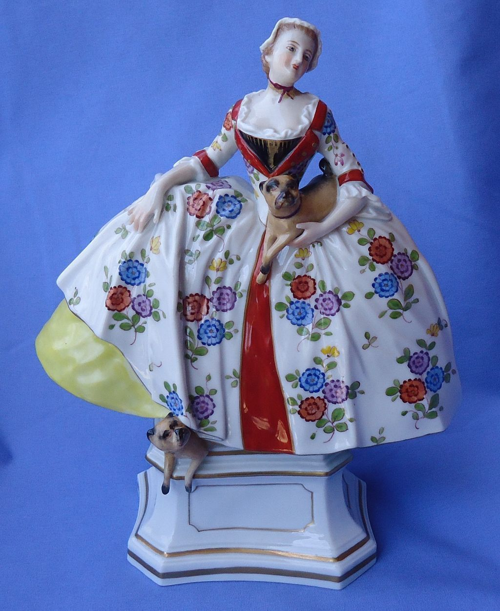 Victorian lady 2 pugs Germany 9""