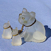 vintage frosted glass French bulldog family  charms 2""