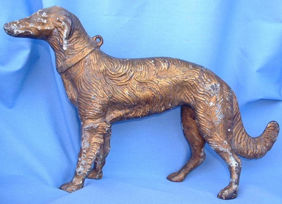 """cast iron HUBLEY doorstop wolfhound/BORZOI 13"""""""