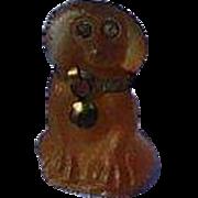 amber glass  Cavalier King Charles spaniel dog charm perfume dangle Czechoslovakia