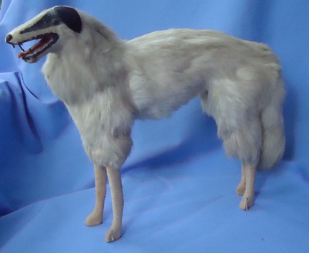 "antique 13""  fur Borzoi Germany French fashion doll"