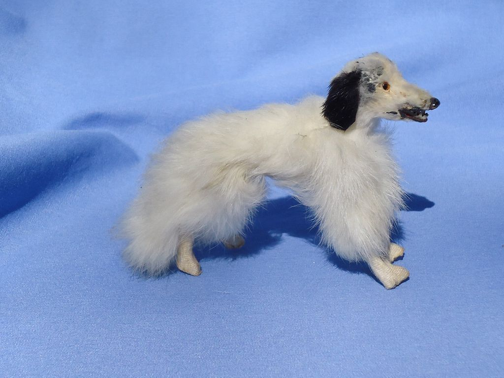 antique fur Borzoi  French fashion doll Germany 5""