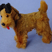 "antique Airedale Irish terrier salon dog French fashion doll 3"" Germany label"
