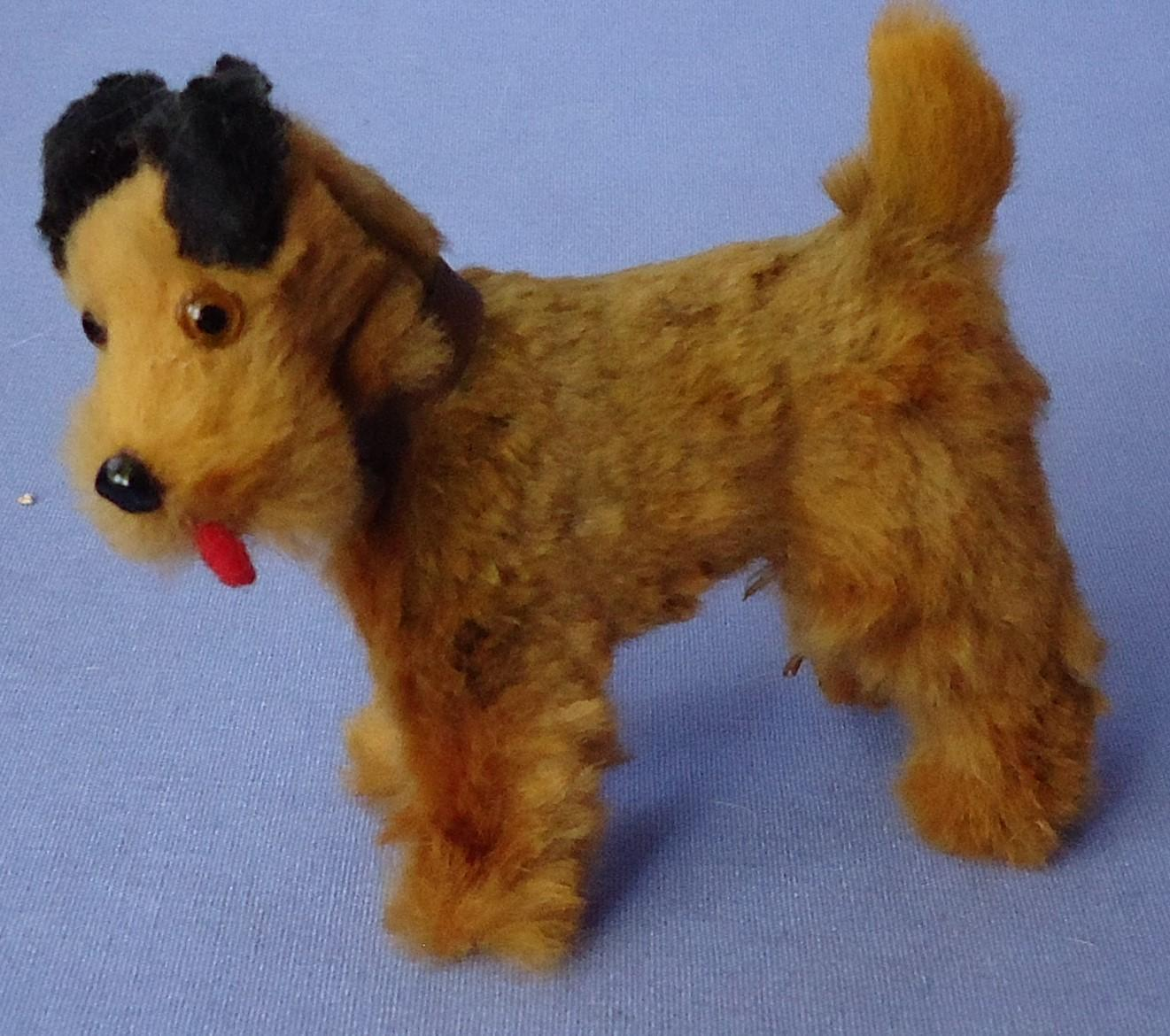 """antique Airedale Irish terrier salon dog French fashion doll 3"""" Germany label"""