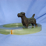 "bronze Sealyham  Norfolk terrier 4"" Germany onyx tray"