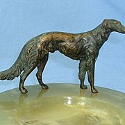 authentic art deco Austria solid bronze Borzoi marked