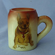 1930s  hand painted French bulldog Handel glass mug Bauer