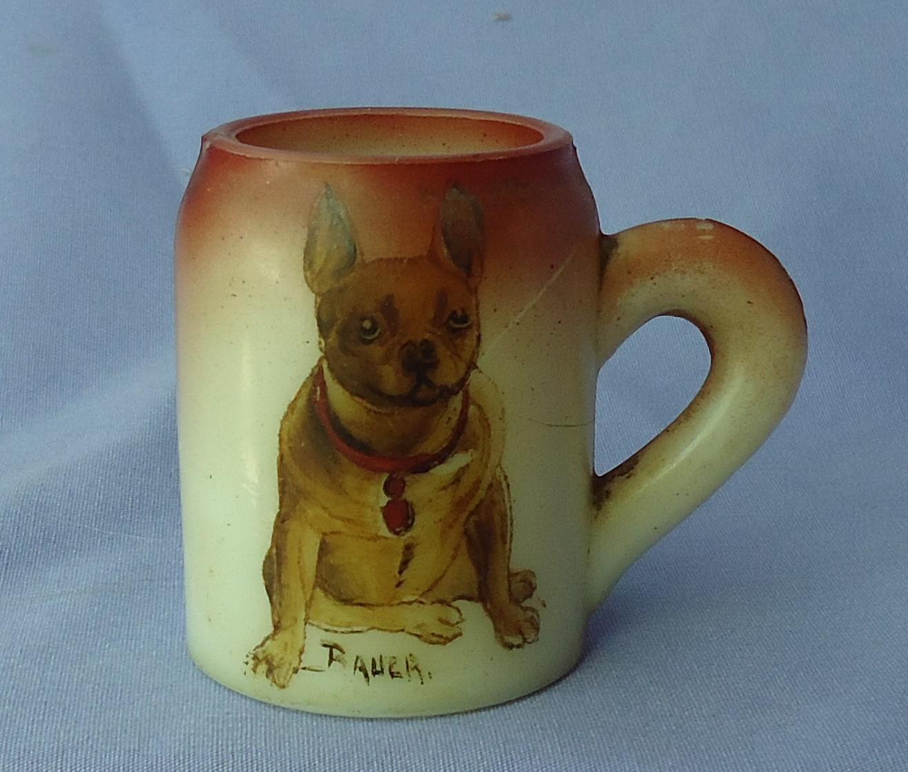 1900s  hand painted French bulldog Handel glass match holder Bauer