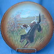 "10"" RK Beck plate Foxhound  German pointer signed"