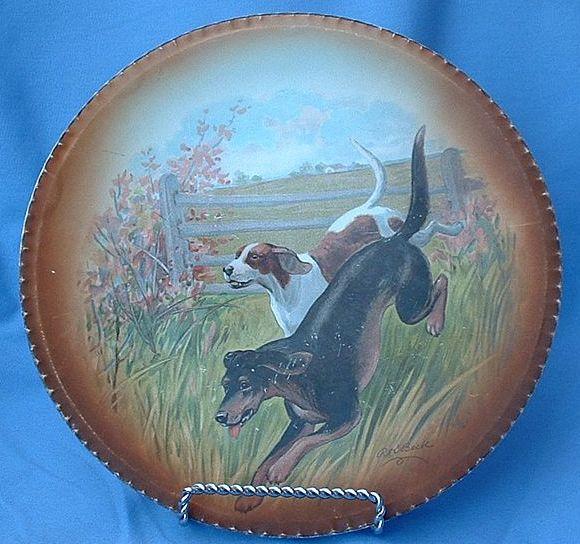 "10"" RK Beck plate Foxhound  German pointer signed"
