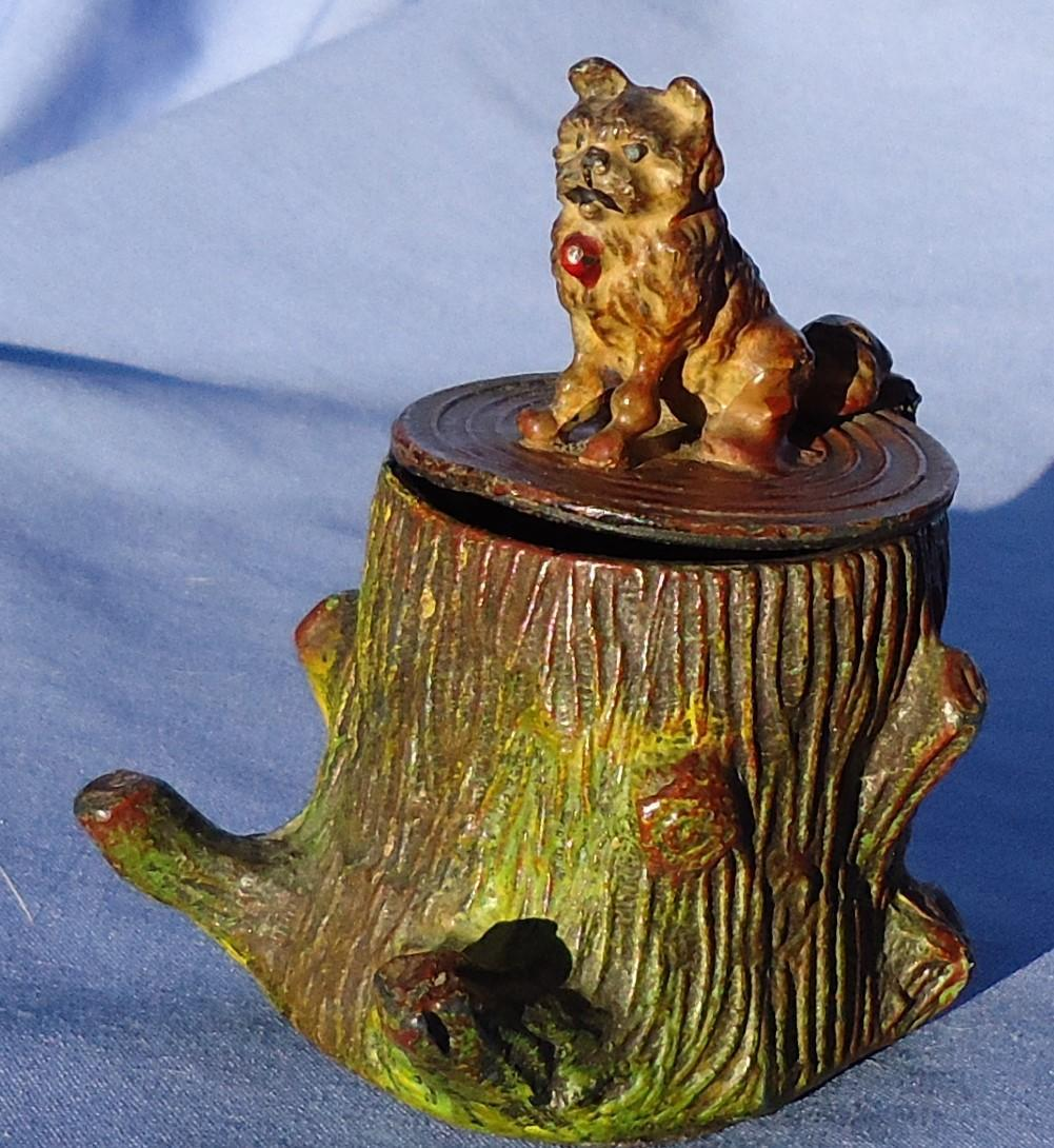 antique Brussels Griffon Norwich terrier dog inkwell Heyde Germany 3""