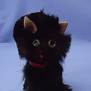 black fur cat green eyes French Fashion doll