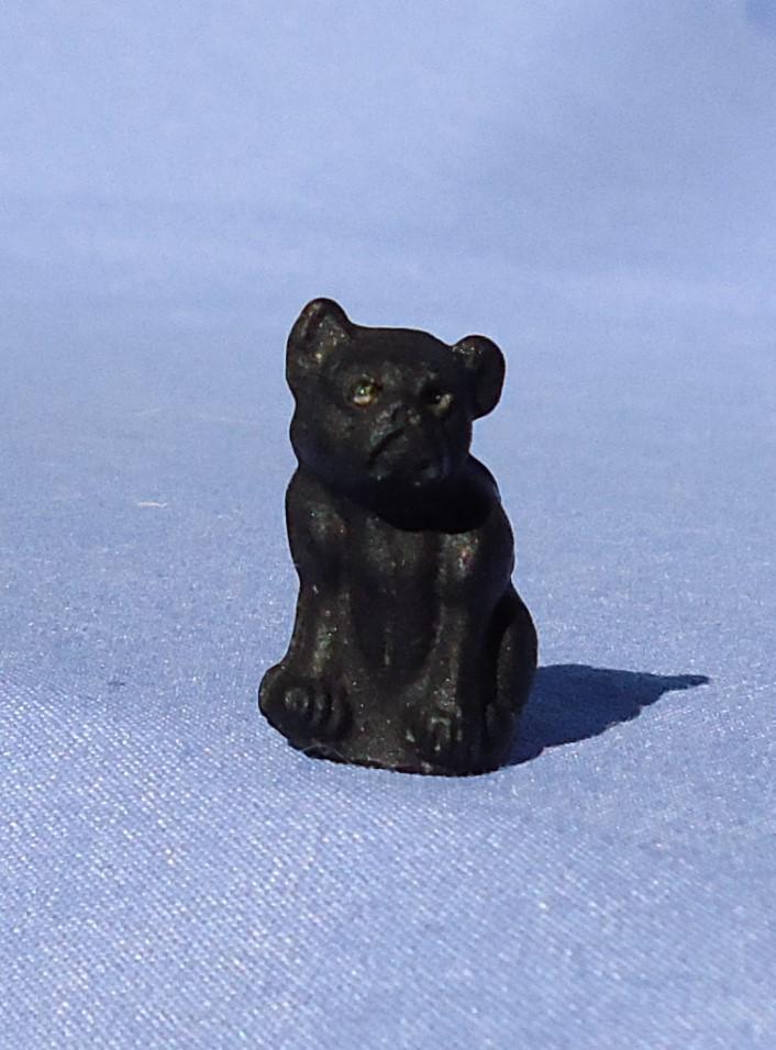 rare black glass French Bulldog charm perfume dangle Czechoslovakia