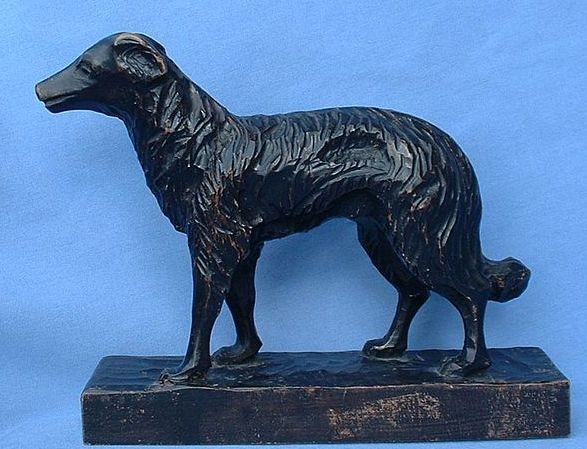 black forest hand carved  wood Borzoi 8""