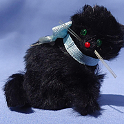 vintage black fur cat French fashion doll Germany 3""