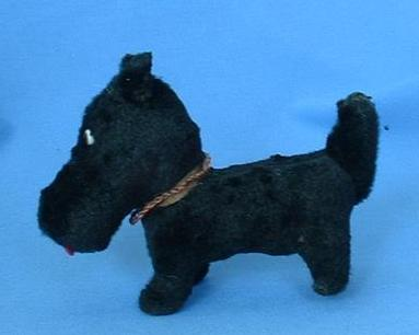 ...old black fur toy dog 4 French fashion doll Scotty Fripon  terrier 4""