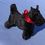 antique black Scottish terrier salon Scotty dog Germany label French fashion doll