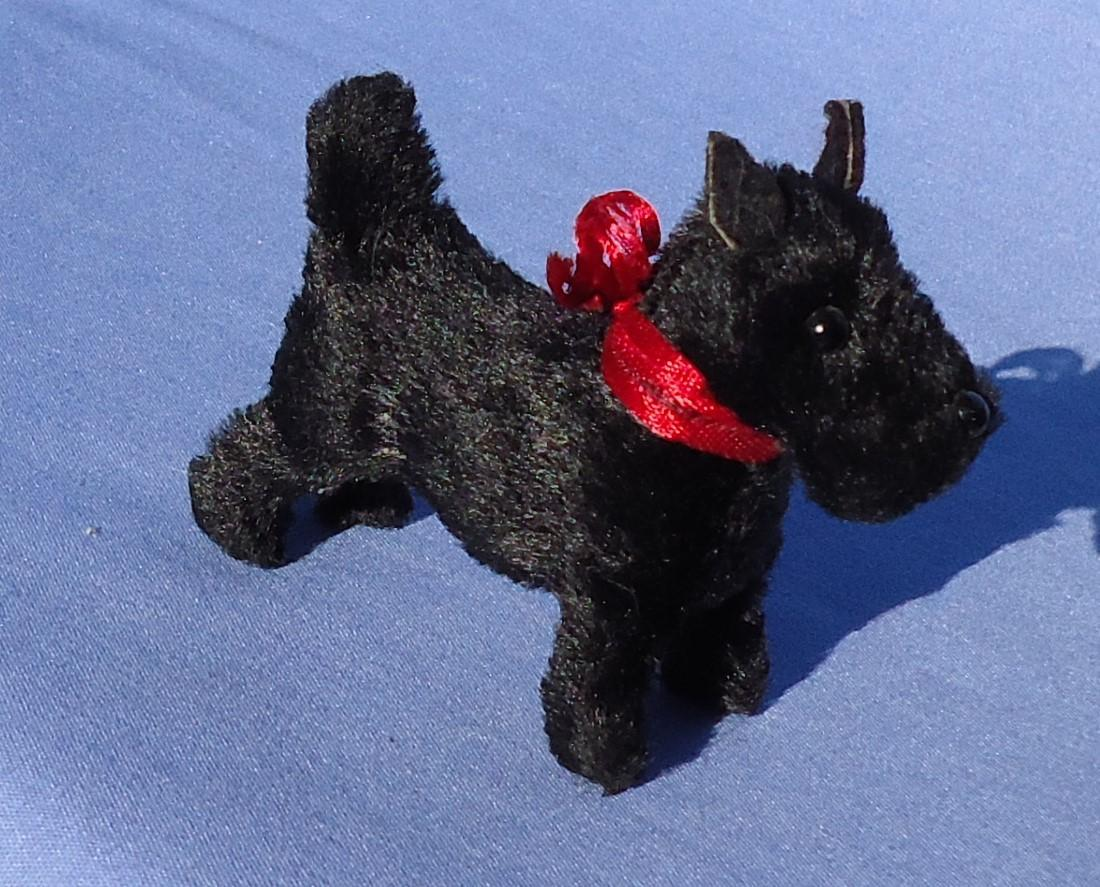 antique black Scottish terrier salon Scotty dog Germany label French fashion doll