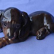 "1930 black tan Dachshund puppy dog rare Rosenthal 7"""