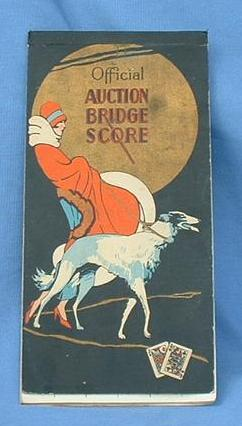 art deco flapper & Borzoi bridge score pad 8""