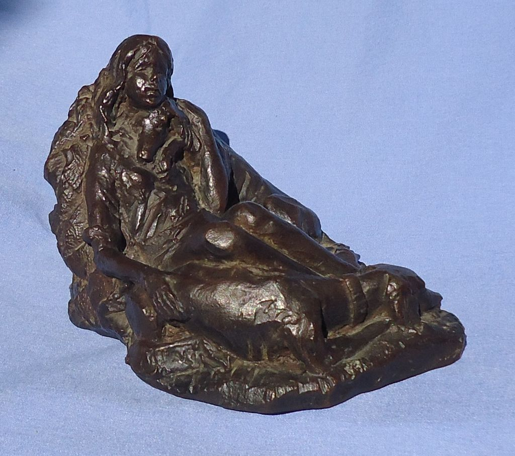 bronze 2  Saluki & girl limited edition