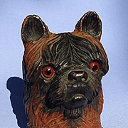 antique Brussels Griffon Norwich terrier Black forest dog inkwell 5""