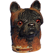 """antique Brussels Griffon terrier Black forest dog inkwell 5"""""""