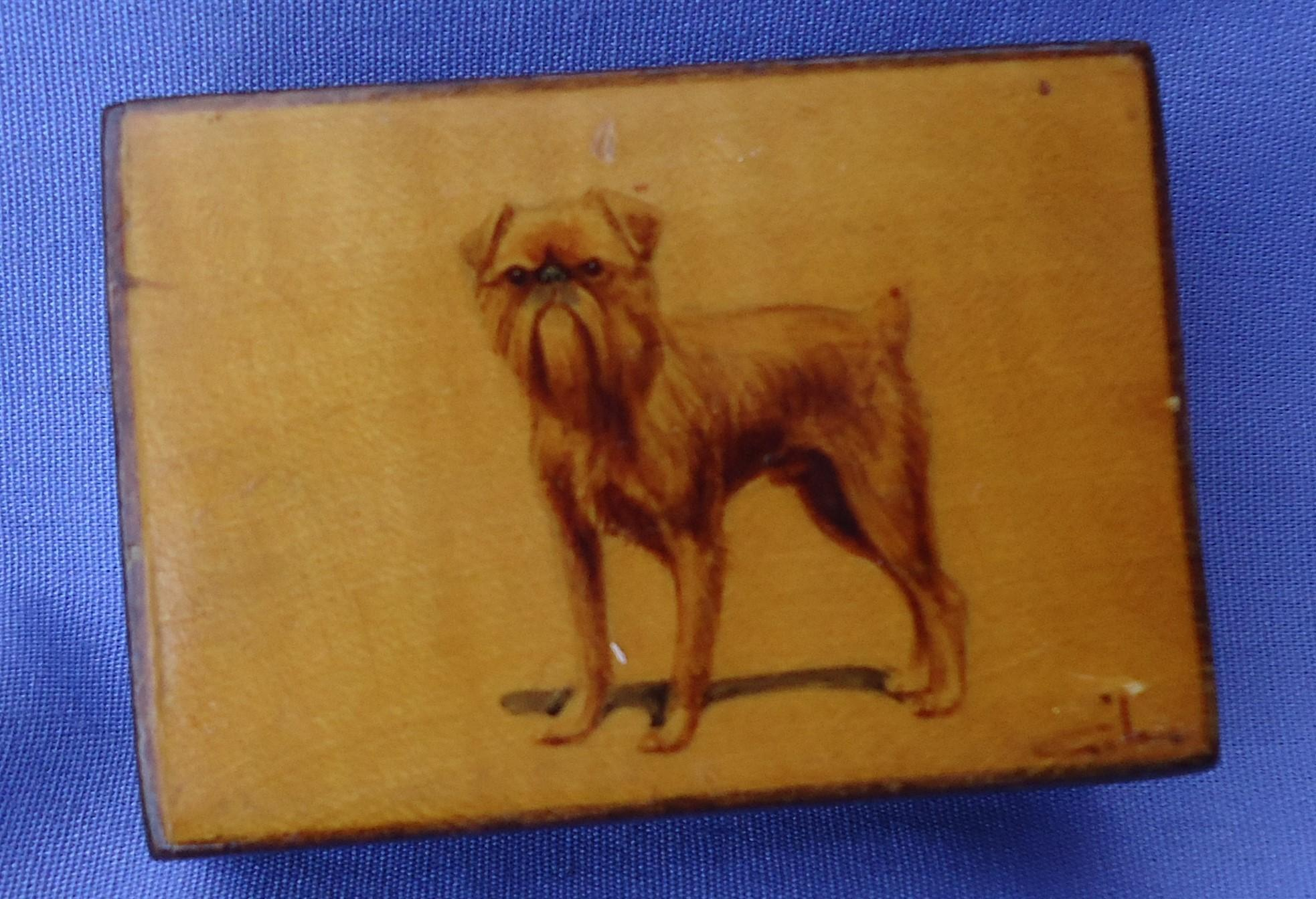 antique Brussels Griffon hand painted dog match box holder