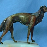 old Austria solid bronze Borzoi marked 7""