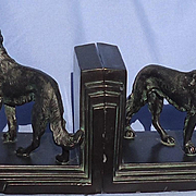 1930 bronze Borzoi bookends Ronson