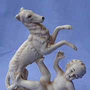 1930s Borzoi & boy bisque Germany