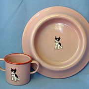 vintage Germany enamel set Boston Terrier French Bulldog