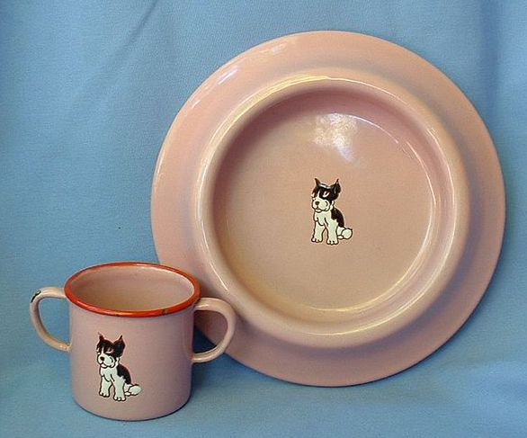 1930 Germany enamel dish set Boston Terrier French Bulldog