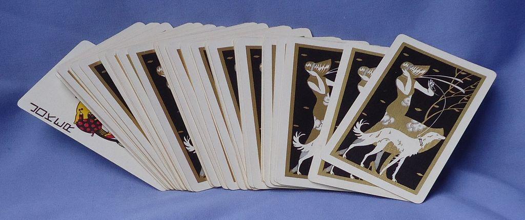 HTF deco lady Borzoi card deck