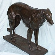 huge bronze Borzoi 21""