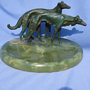 art deco Bruno Zach design Borzoi cigar ashtray 8""