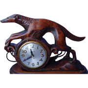 1941 carved wood Borzoi Mastercrafters clock 12""