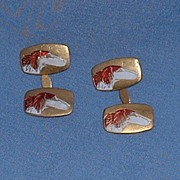 rare pr old cloisonne Borzoi cufflinks