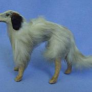 "antique  fur  Borzoi salon dog companion  for French fashion doll Germany 5"""