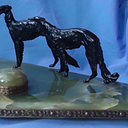 bronze Borzoi Sheaffer inkwell