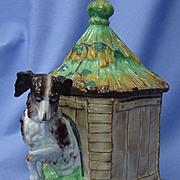 "1890s tobacco jar Cavalier King Charles spaniel dog w house 8"""