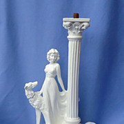 vintage lady and 2 Borzoi lamp 12""